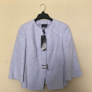NWT Akris Anais Shirt Linen-Wool Jacket Mauve